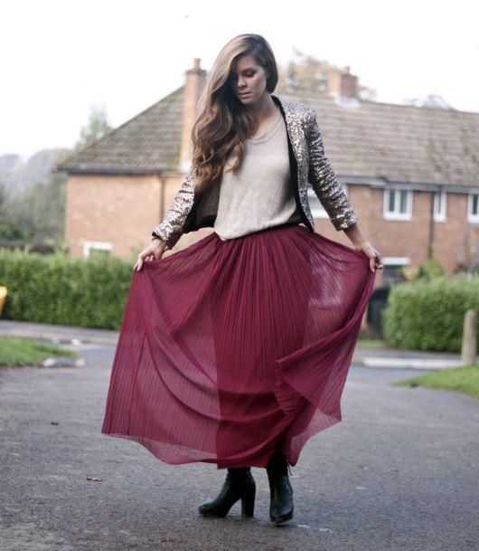 ideias para usar maxi saia no inverno