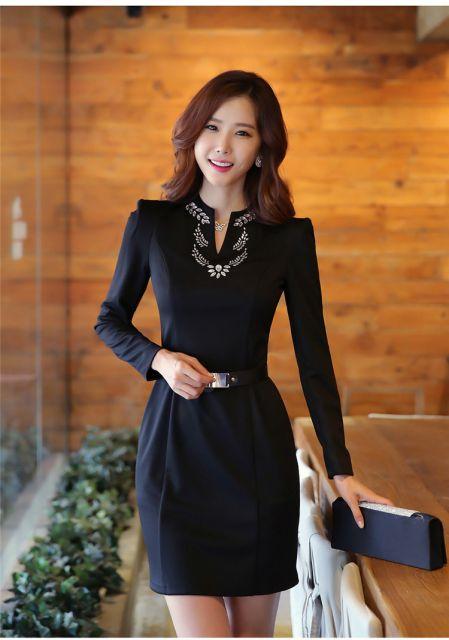 vestido de passeio preto