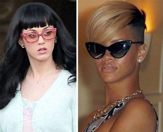 Katy Perry e Rihanna de óculos gatinho