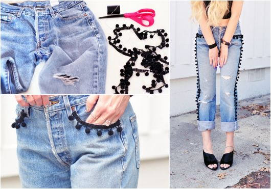 como customizar calça jeans exemplo transformar em shorts pompom