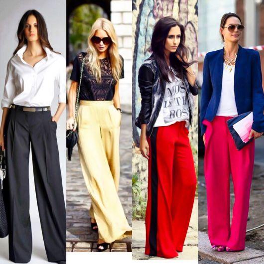 Mulheres com pantalonas de diversos tipos