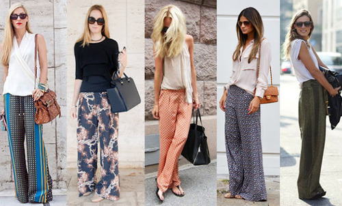 Calças pantalonas com rasteirinhas