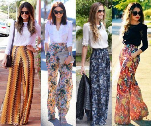 Mulheres com calças pantalonas com estampas.