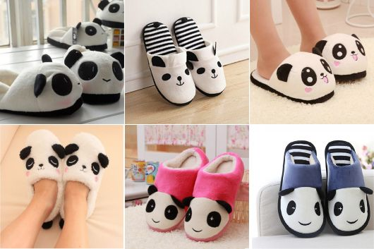exemplo de pantufas femininas fofas panda