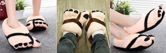 exemplo de pantufas femininas engraçadas pé grande
