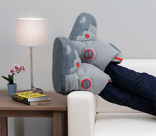 exemplo de pantufas femininas diferentes robô