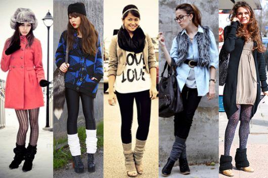 polaina com legging na moda inverno
