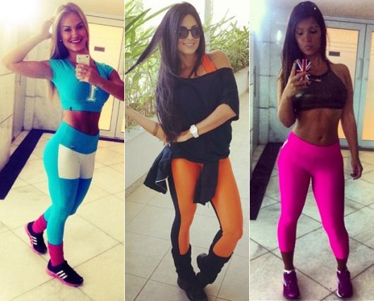 polaina com legging color blocking