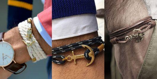 pulseira masculina com âncora