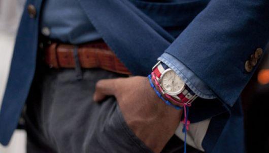 pulseira masculina com relógio