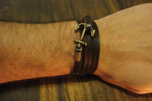 pulseira masculina couro e âncora
