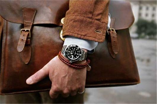 pulseira masculina couro e relógio