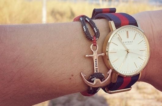 pulseira náutica com relógio