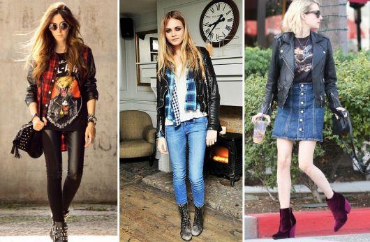 roupas de rockeiras - peças pretas com cores e jeans