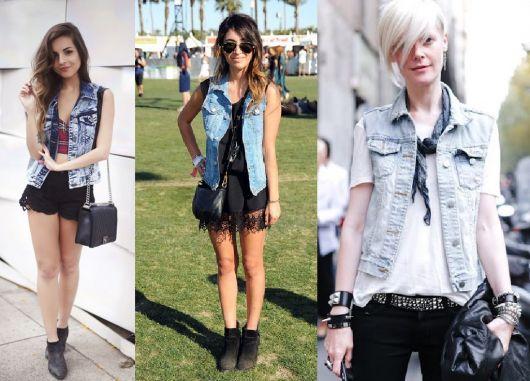 roupas de rockeiras - colete jeans