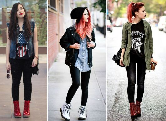 roupas de rockeiras - coturno colorido