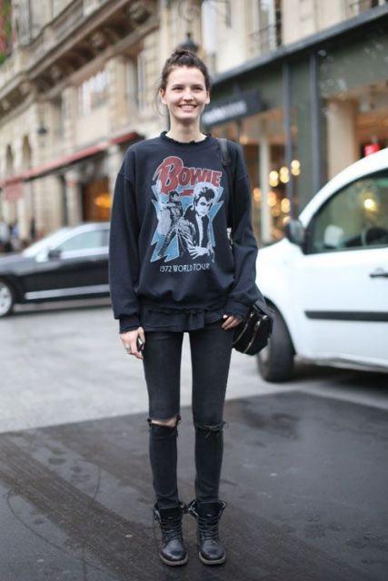 roupas de rockeiras - moletom de banda