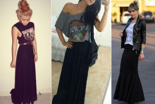 roupas de rockeiras - saias longas