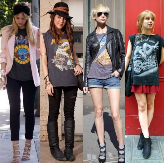 roupas de rockeiras - vários looks
