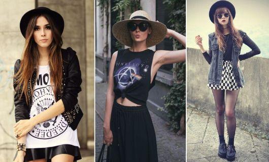 roupas de rockeiras - looks com chapéus
