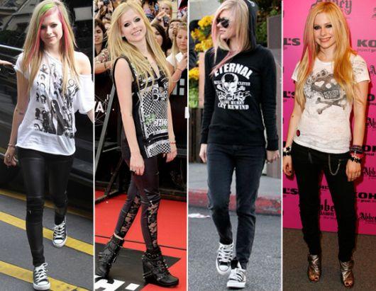 roupas de rockeiras - Avril Lavigne