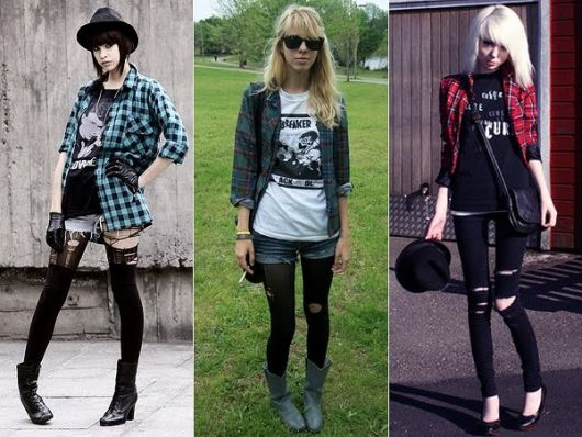 roupas de rockeiras - camisa xadrez