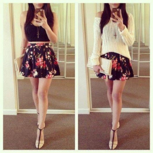 saia com blusa cropped para look casual simples