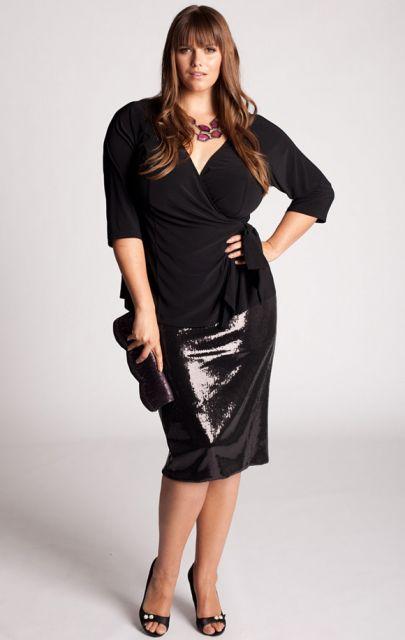 saia de paete moda plus size