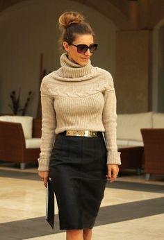 saia lapis preta na moda inverno