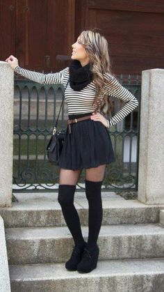 look inverno com saia patinadora preta