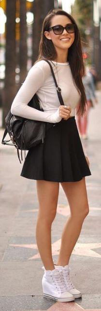 saia skater em look simples fashion