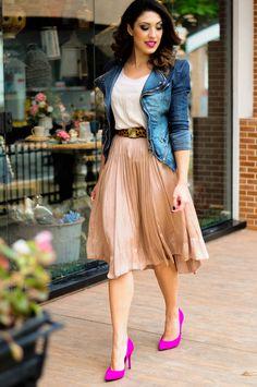 look vintage com scarpin rosa