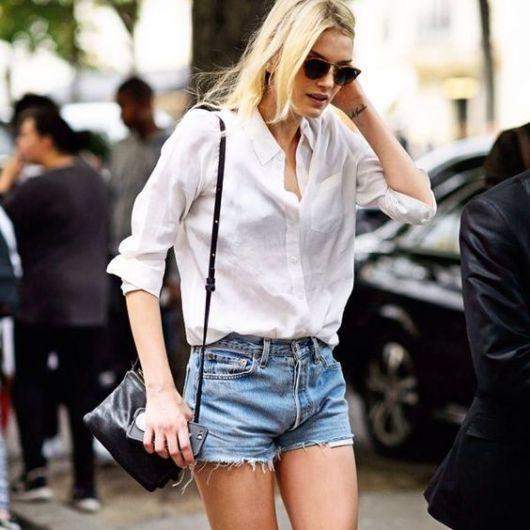 shorts cintura alta com camisa