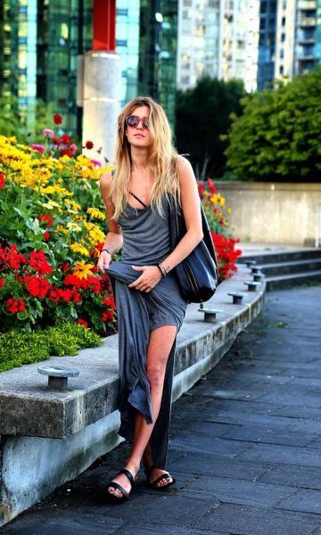 vestido cinza longo