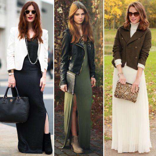 vestido longo com blazer