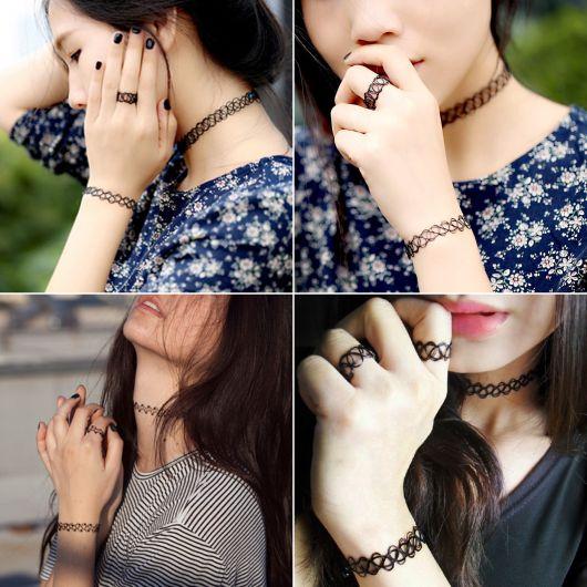 tattoo choker colar pulseira e anel