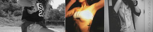 tatuagem feminina na costela cruz
