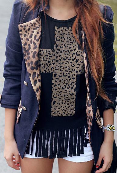 blusa de franja com jaqueta