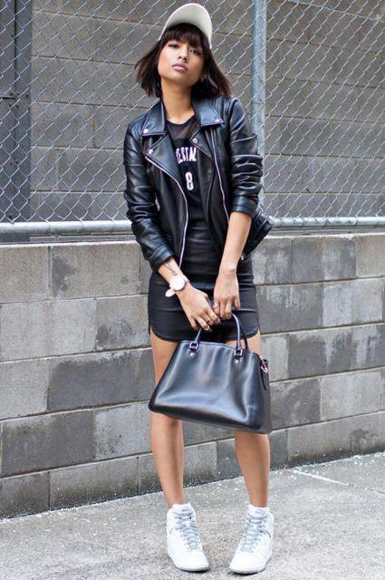 vestido com jaqueta de couro