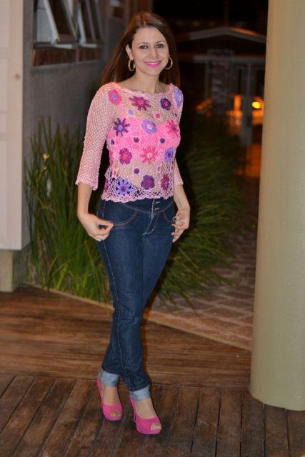 look jeans com peep toe rosa