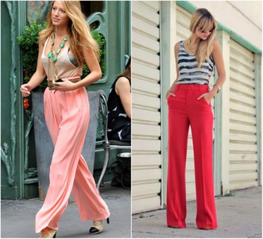 Calça pantalona modelo rosa e modelo vermelho
