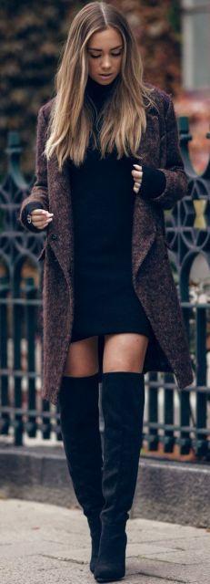 vestido com casaco inverno