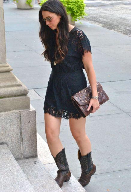 vestido renda com bota