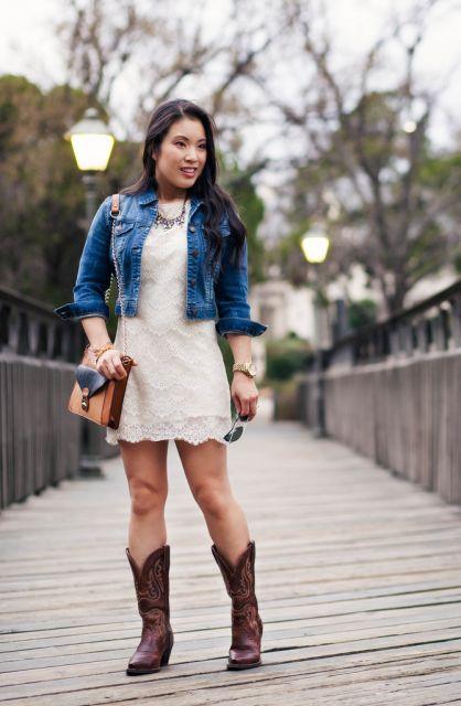 Vestido jeans e bota