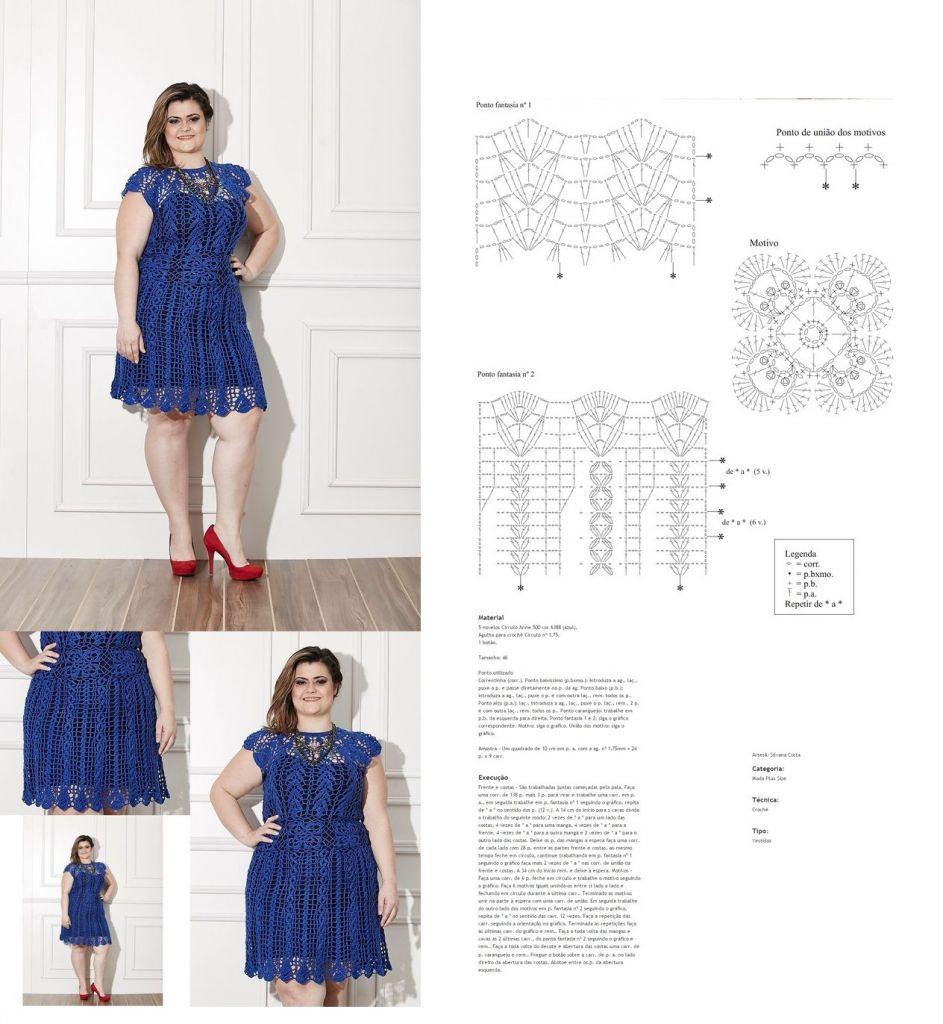 Vestido De Crochê Com Gráficos E Receitas Passo A Passo