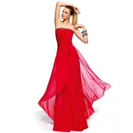 vestido chique de formatura vermelho