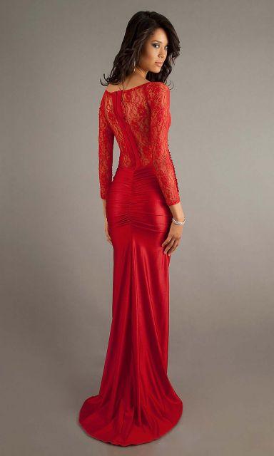 vestido de formatura vermelho com renda
