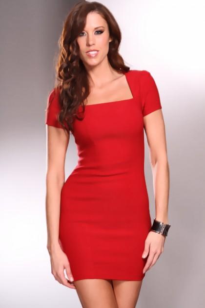 vestido de formatura vermelho decote reto