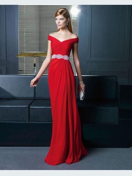vestido de formatura vermelho ombro a ombro