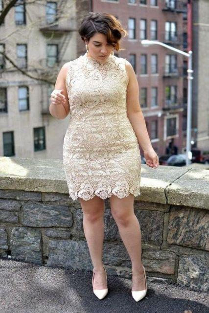 vestido renda curto